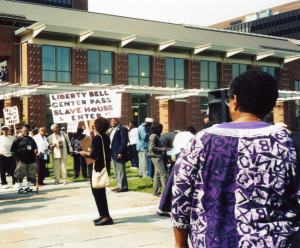 As the Liberty Bell Center opened in 2003, protests continued the pressure to mark the adjacent site of the President's House with a memorial to the enslaved Africans in George Washington's household.