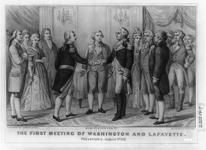 A Currier and Ives illustration from 1876 recreates the moment when the Marquis de Lafayette first met George Washington. (Library of Congress)