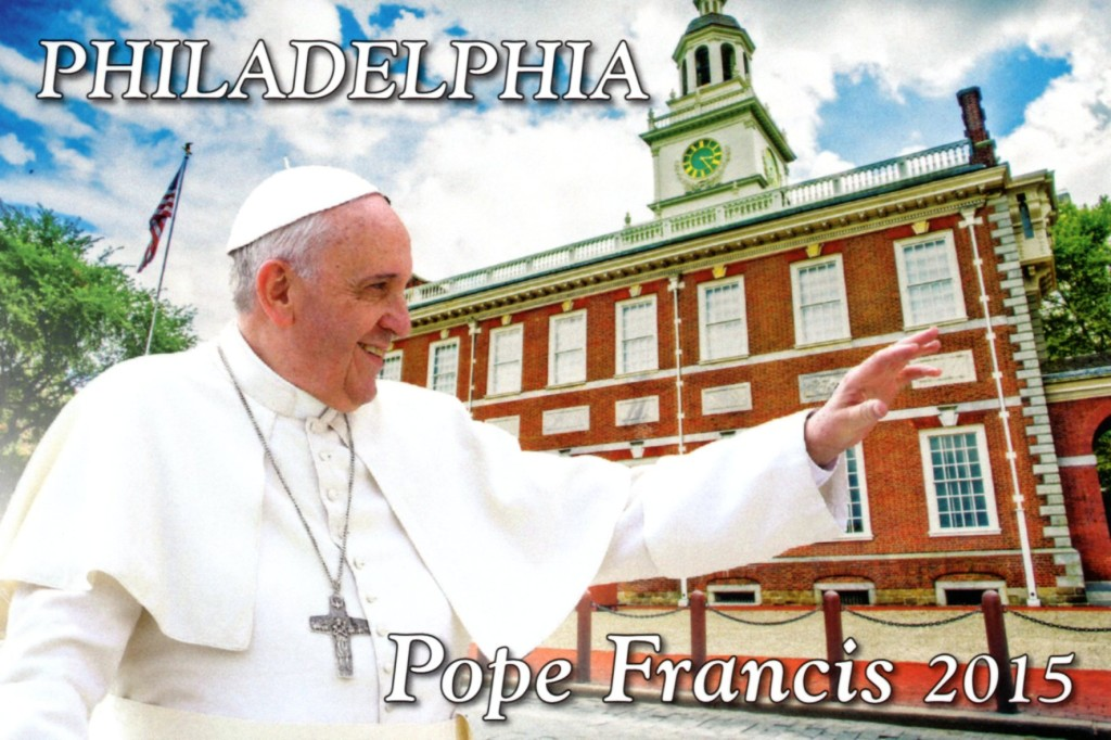 A postcard peddled by a vendor in Philadelphia anticipated the visit of Pope Francis to Independence Hall.